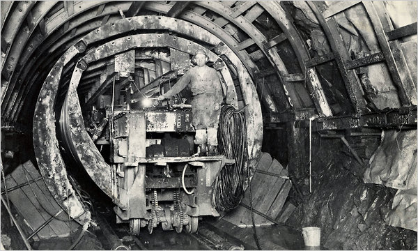 Fig 6. Working on the Rondout-West Branch Tunnel of the Delaware Aqueduct in 1942. Cracks have caused flooding in Wawarsing, N.Y., in Ulster County.
