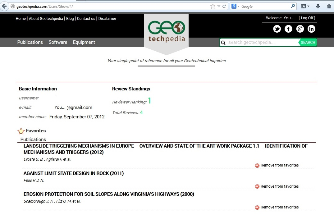 Geotechpedia registered users page